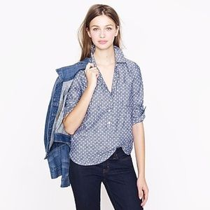 J.CREW • circle print chambray shirt 🔘